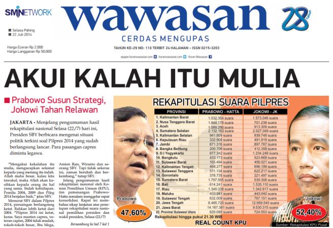 Koran Wawasan 22 Juli 2014